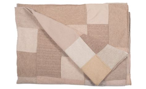 Plaid in puro cashmere beige