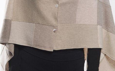 Poncho donna in puro cashmere marrone chiaro e scuro