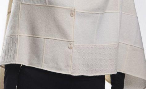 Poncho donna in puro cashmere bianco o grigio