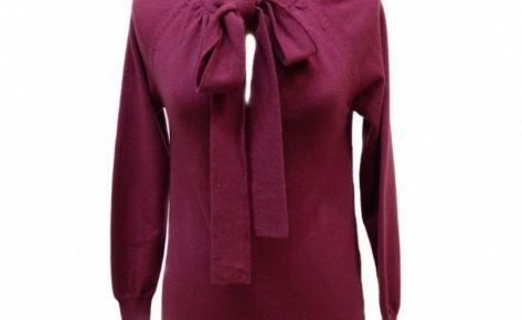 Maxipull da donna in puro cashmere con fiocco