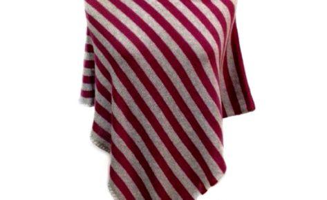 Poncho a righe corto in puro cashmere