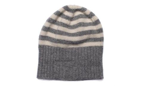 Cappello per bambini in cashmere a righe con risvolto