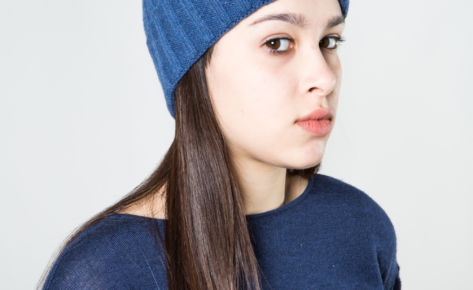 Cappello a coste in puro cashmere